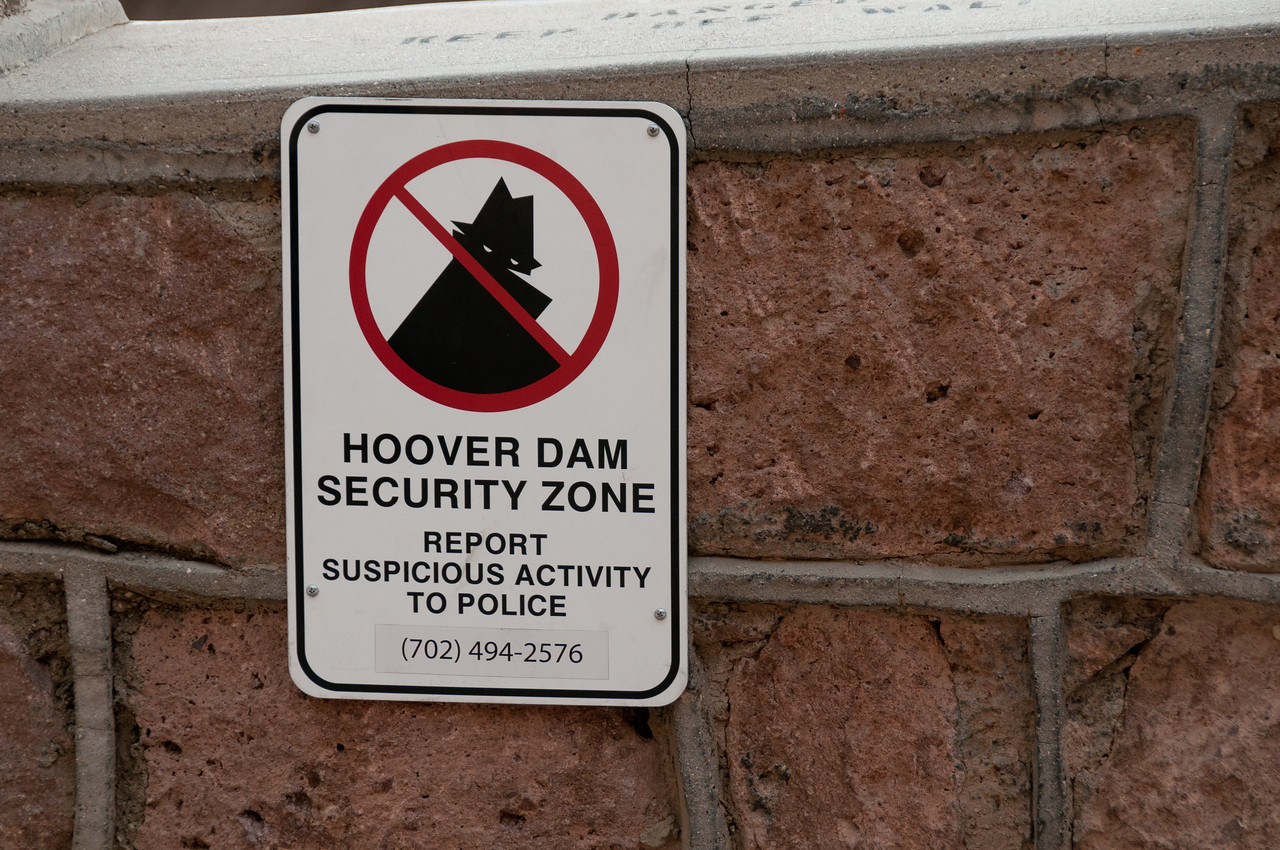 Warning sign at Hoover Dam in Las Vegas, Nevada