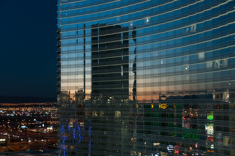 Reflection on glass walls of Aria Resort & Casino - Las Vegas