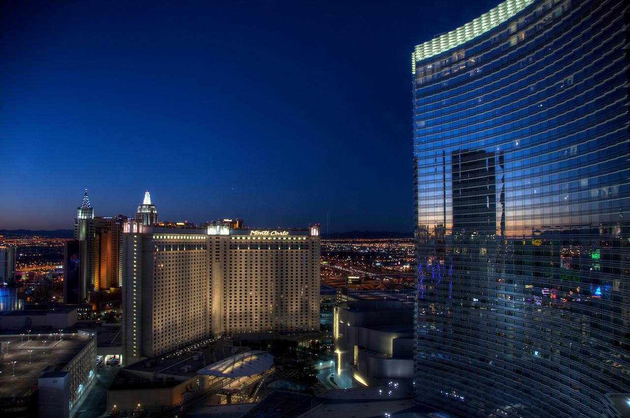 ARIA Resort & Casino Las Vegas towering over Monte Carlo Resort - Nevada