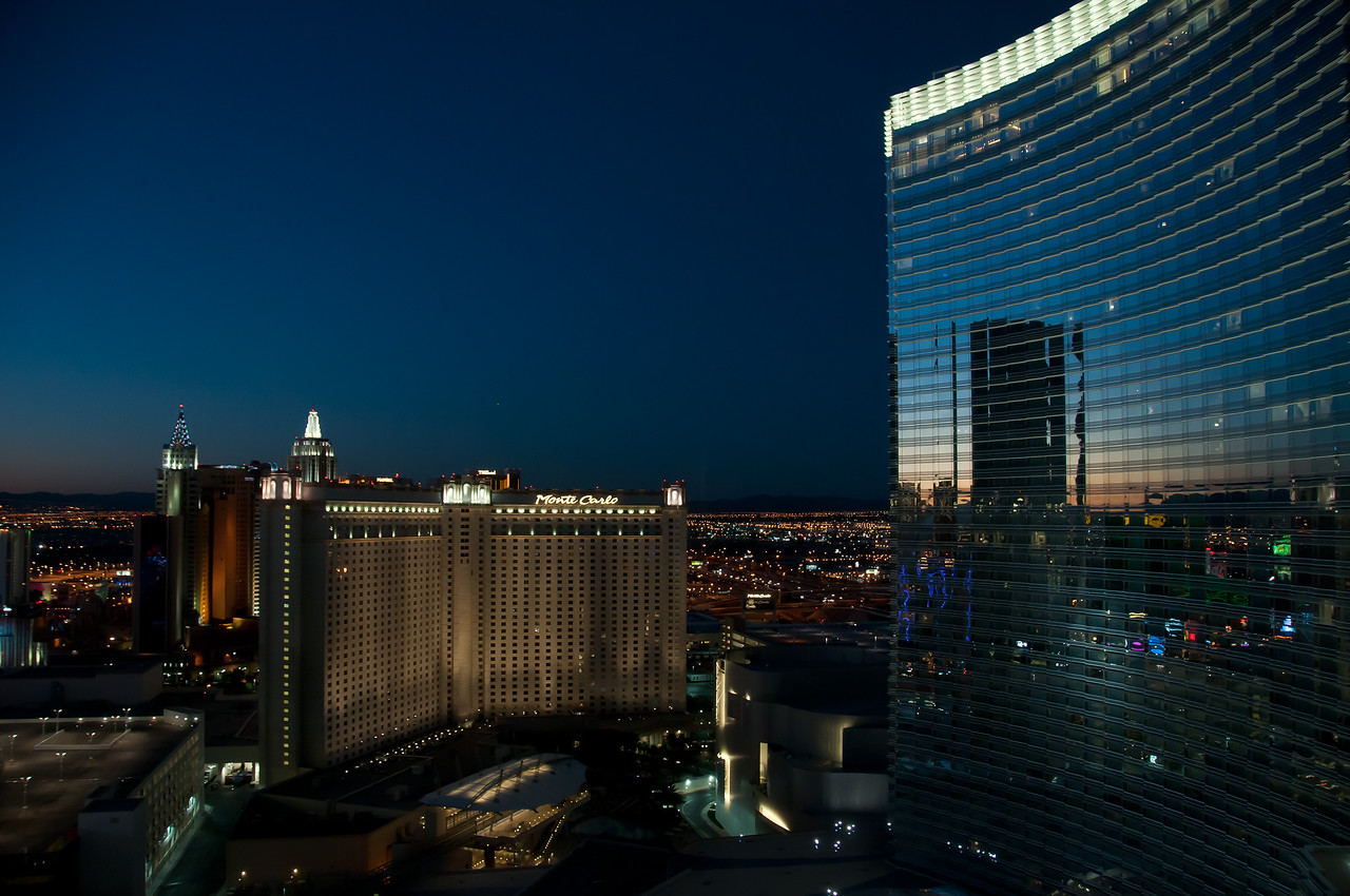 Aria Resort & Casino towering over Monte Carlo Resort - Las Vegas, Nevada
