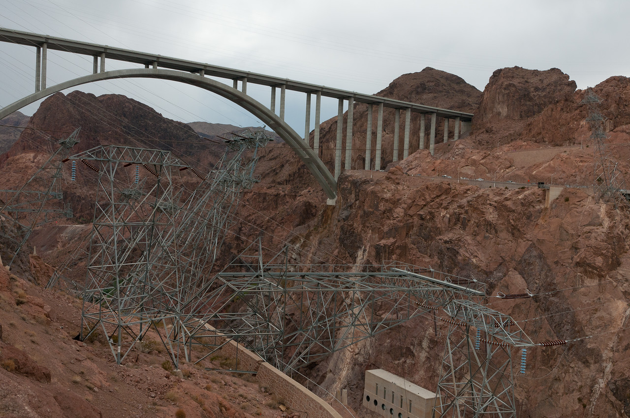 The Mike O'Callaghan–Pat Tillman Memorial Bridge as seen from Hoover Dam in Las Vegas