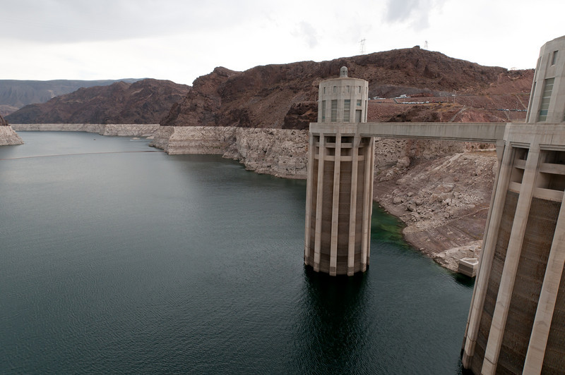 Water intake towers at Hoover Dam in Las Vegas, Nevada