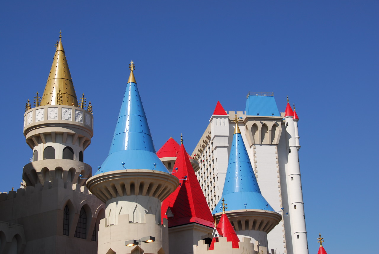 Medieval English castle themed towers of Excalibur Hotel & Casino in Las Vegas, Nevada