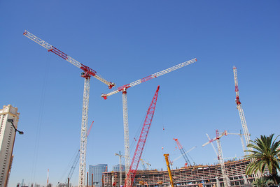 Cranes at a construction site in Las Vegas, Nevada