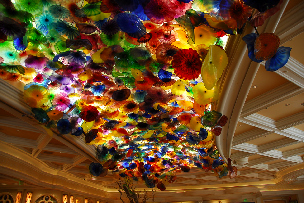 Dan Chihuly handblown glass flower ceiling at Bellagio Hotel and Casino, Las Vegas, Nevada