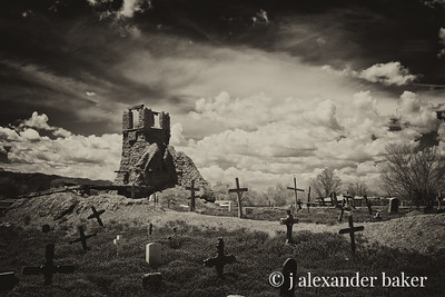 Ruins of church at Taos Pueblo burned by US Army with Indians inside during Mexican War in 1847