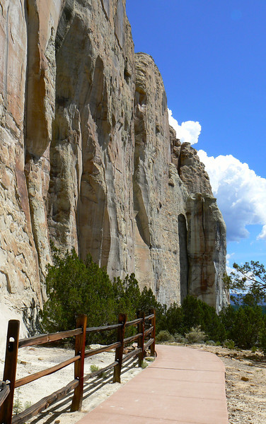 At El Morro National Monument, a walkway leads to graffiti from Western explorers. You'll find it near Grants, New Mexico.