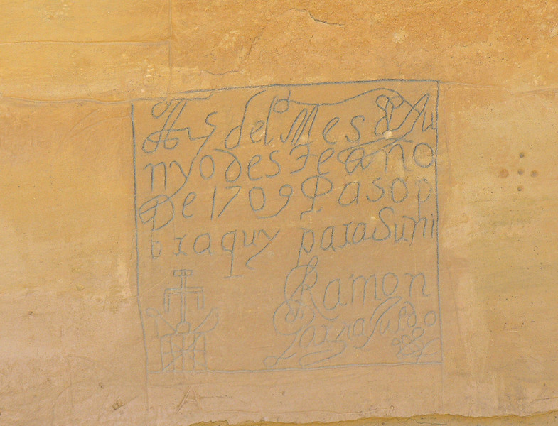 Old West graffiti at El Morro National Monument near Grants, New Mexico.