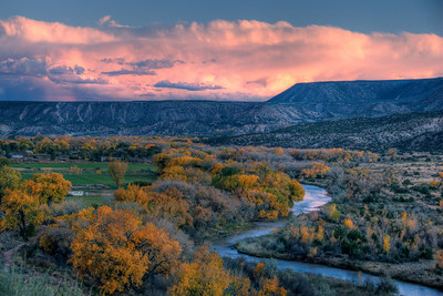 Chama River and landscape of New Mexico, USA