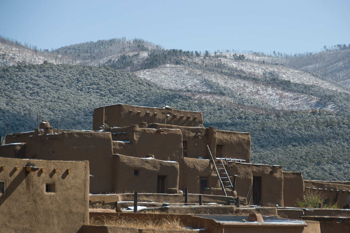 Snow over Taos Pueblo, New Mexico