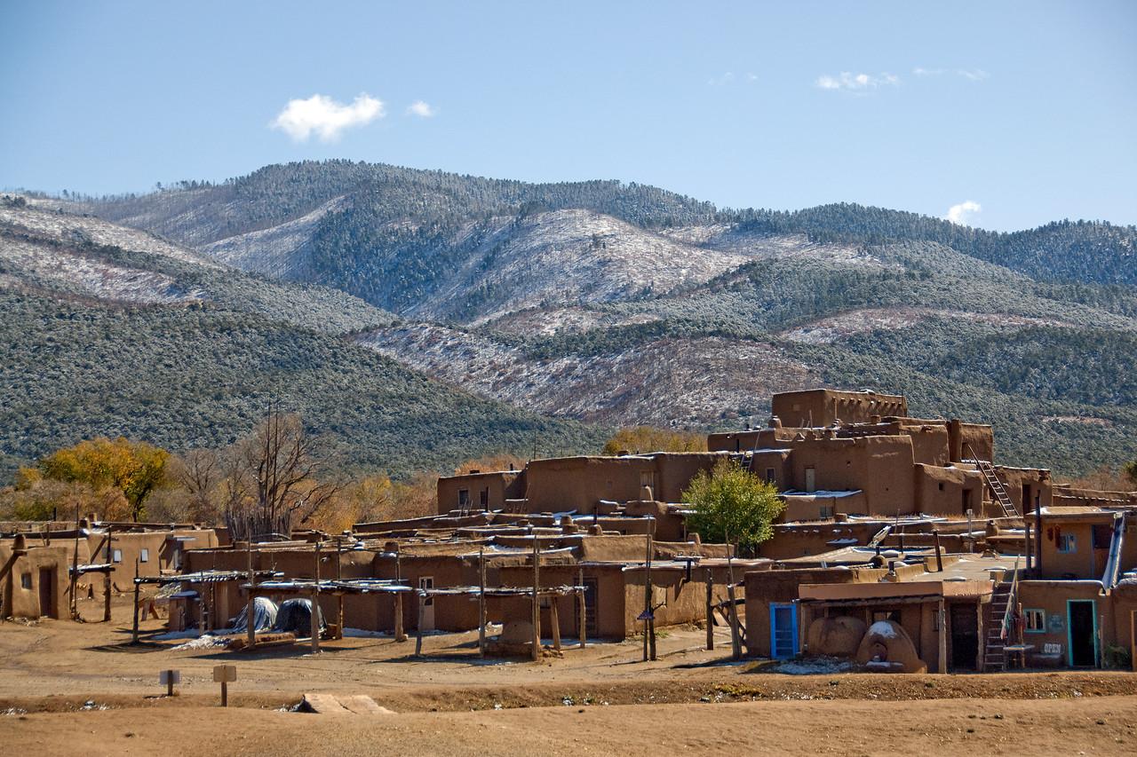 Sangre de Cristo Mountains overlooking Taos Pueblo in New Mexico