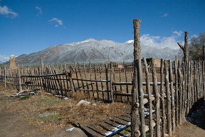 Landscape of Taos Pueblo with a view of the Sangre de Cristo Mountains, New Mexico