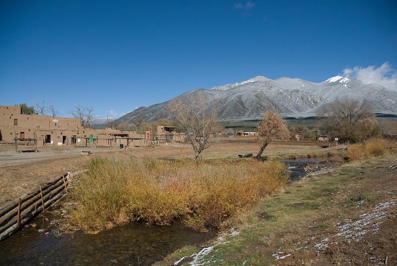 Landscape of Taos Pueblo, Rio Pueblo de Taos, and the Sangre de Cristo Mountains