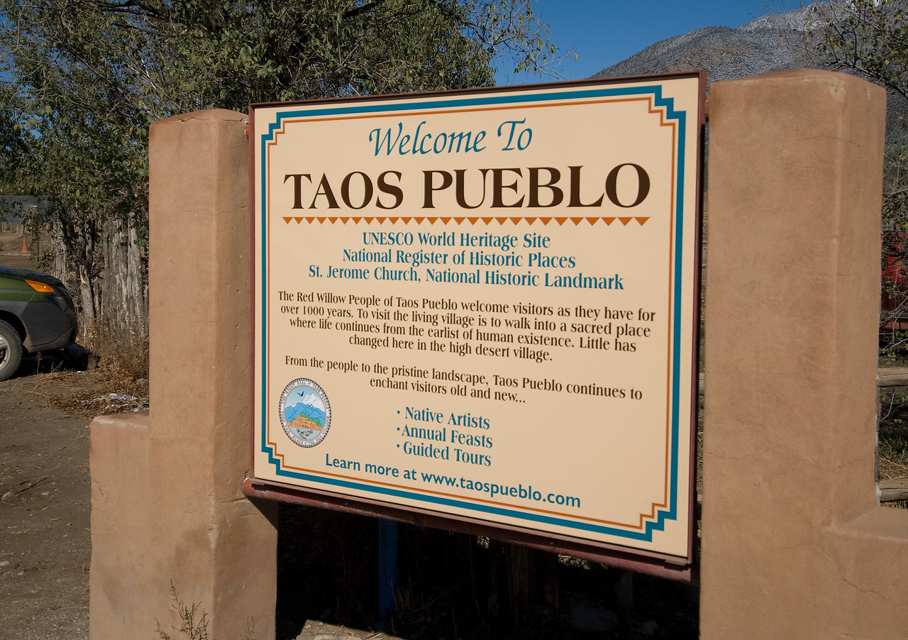 UNESCO sign in Taos Pueblo, New Mexico