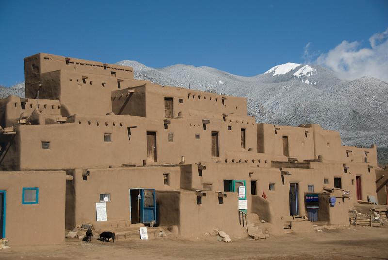 Adobe architecture in Taos Pueblo, New Mexico, USA