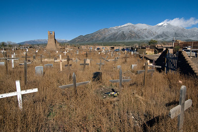Taos Pueblo cemetery and ruins of the old church - New Mexico