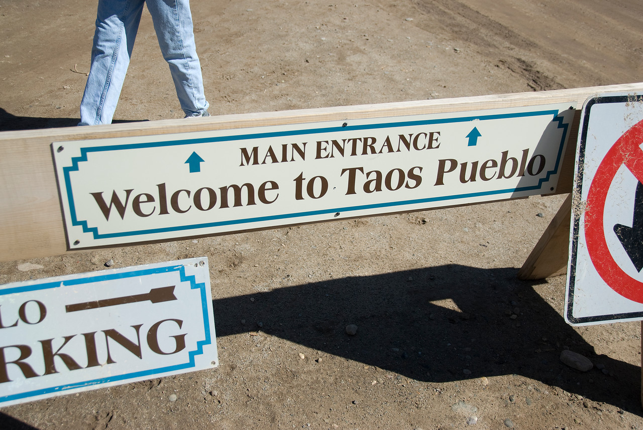Entrance welcome sign to Taos Pueblo in New Mexico, USA