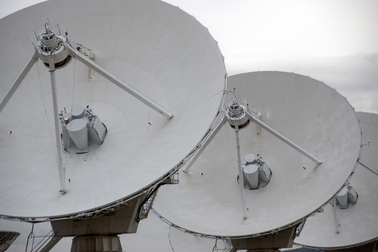 Close-up of antennas in Very Large Array, New Mexico