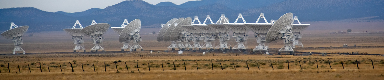 Panorama of antennas in Very Large Array, New Mexico
