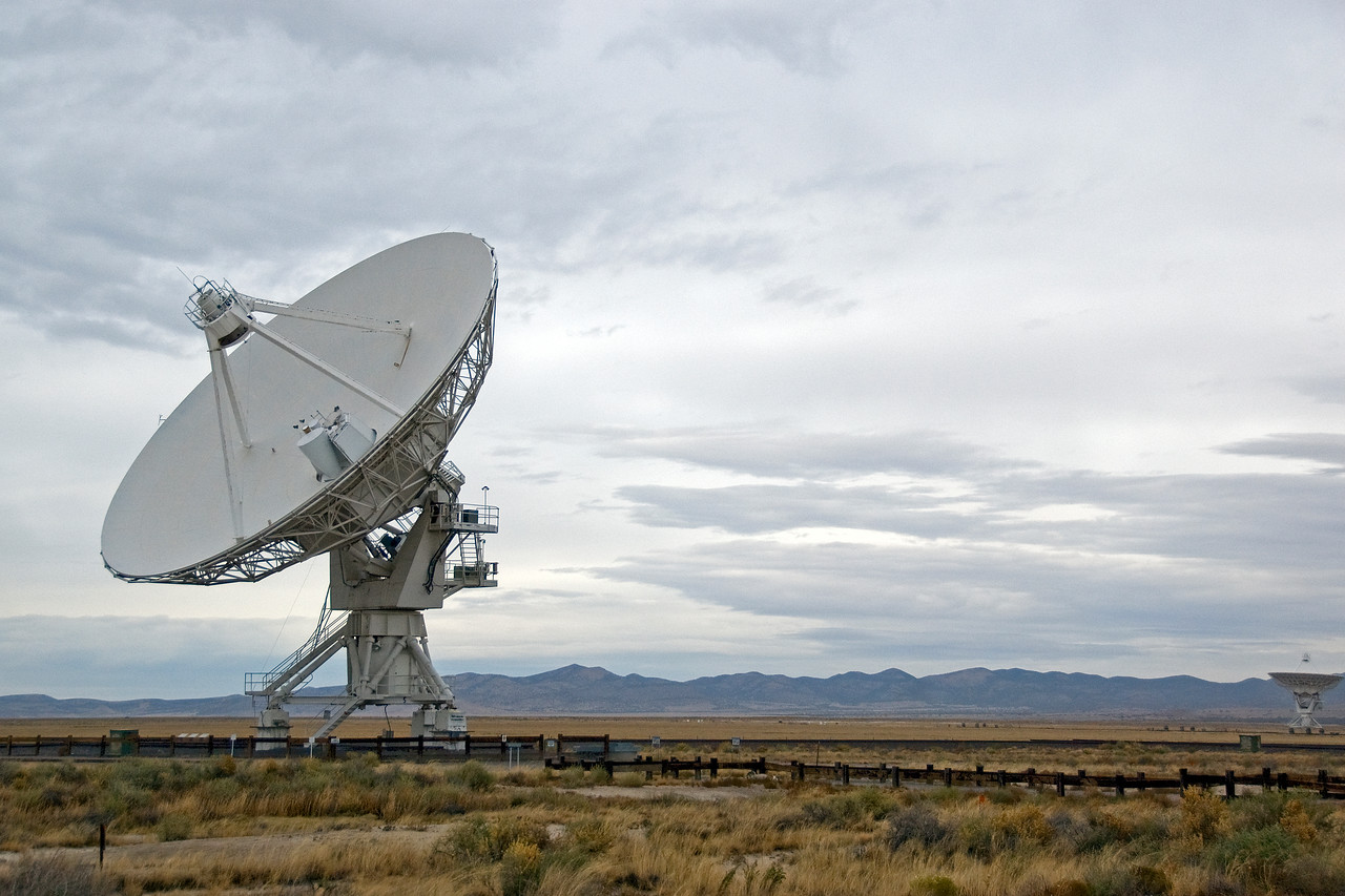Isolated shot of an antenna in VLA, New Mexico