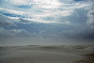 Dark clouds over White Sands National Monument in Alamogordo, New Mexico
