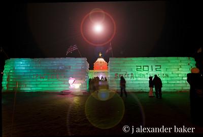 Saranack Lake Winter Carnival Ice Castle with ELVIS ta da!
