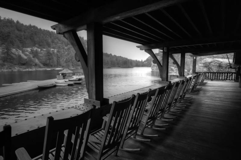 Deck with a view of the boat dock and Lake Mohonk in New York