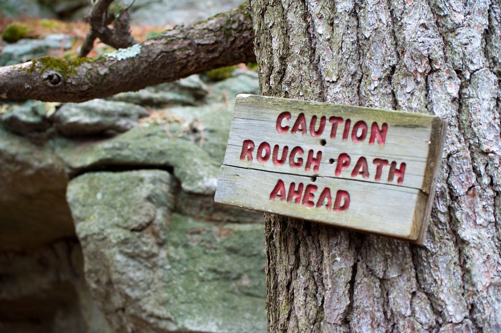 A trail sign near Mohonk Mountain, New York