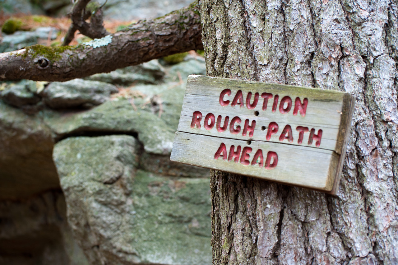 Warning sign at the hiking trail in Mohonk Mountain House, New York