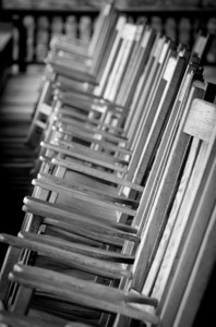 Wooden chairs inside Mohonk Mountain House in New Paltz, New York