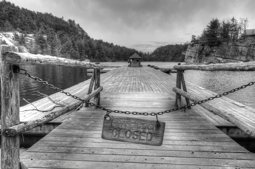 The dock on Lake Mohonk at the Mohonk Mountain House, New York