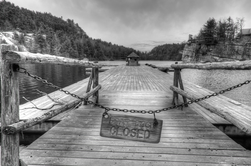 Closed boat dock in Mohonk Mountain House, New York