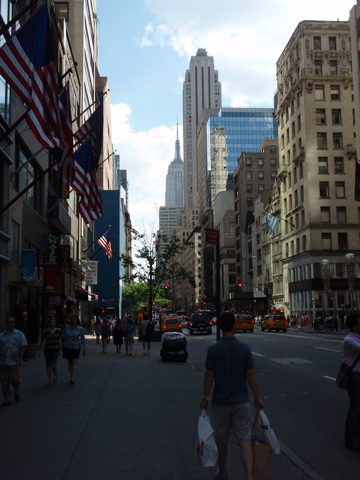 Streets with the Empire State Building in the background.