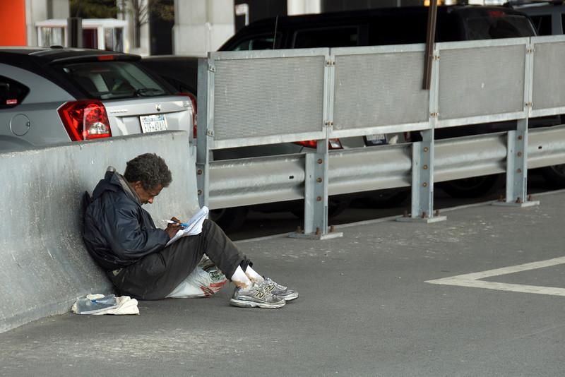 Homeless man on the street of New York
