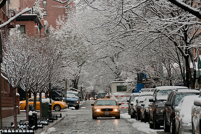 Yellow cab during winter in New York City, New York