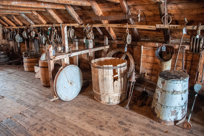 Inside a reconstructed settlement in Battle Harbour, Canada