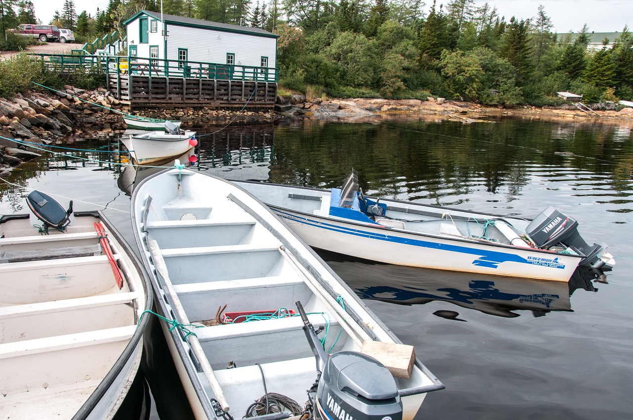Boats in anchor in Batle Harbour, Canada