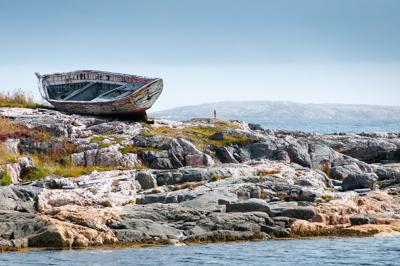 Ship wreck near the shore in Battle Harbour, Canada