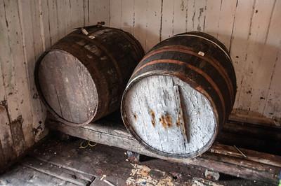 Barrels inside Battle Harbour General Store, Battle Harbour, Canada