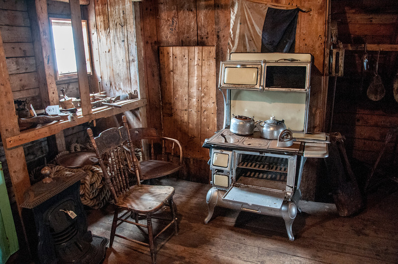 Inside a recreation of former settlement in Battle Harbour, Canada