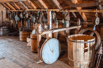 Inside a reconstructed former settlement in Battle Harbour, Canada