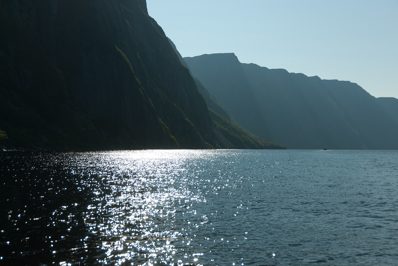 Sunlight glistening over Western Brook Pond, Gros Morne National Park
