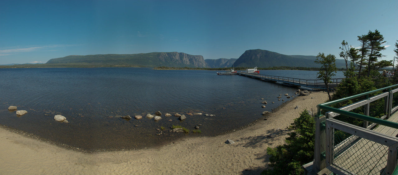 Panorama of Western Brook Pond and pier at Norris Point - Gros Morne National Park