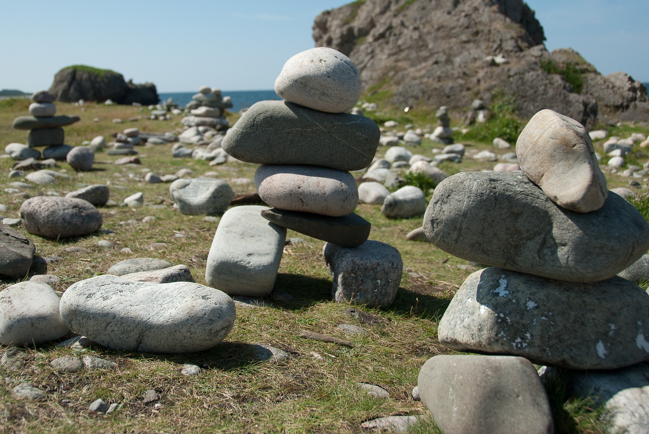 Rock statue along the shore in Gros Morne National Park, Canada