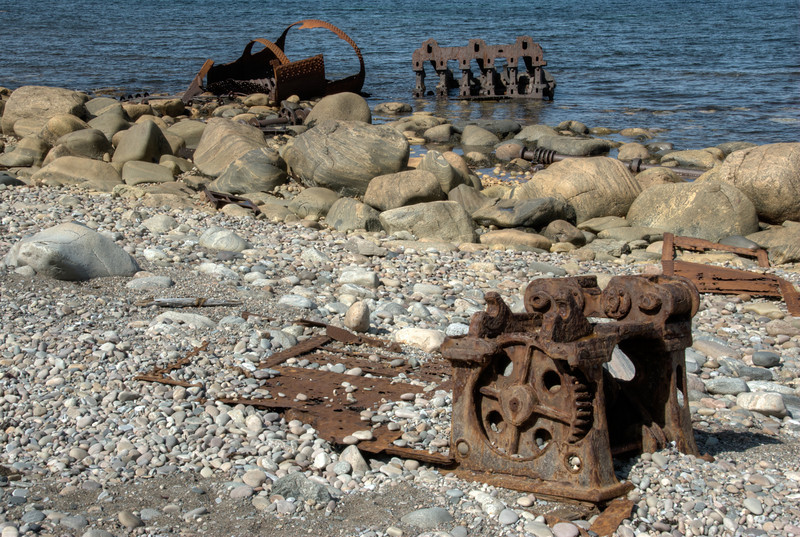 Shipwreck ruins at the shore in Gros Morne National Park, Canada