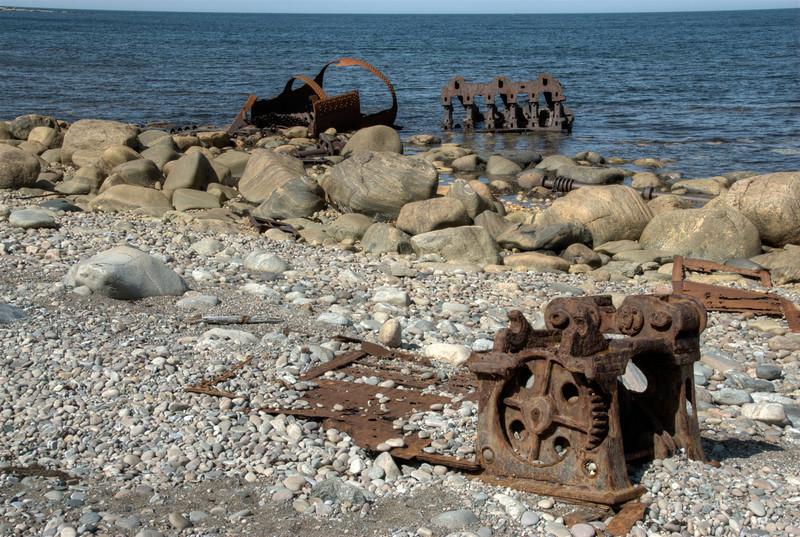 Shipwreck ruins along the shore at Gros Morne National Park, Canada