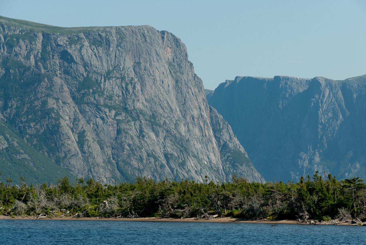 A fjord valley at Ten Mile Pond as seen from Western Brook Pond, Gros Morne National Park