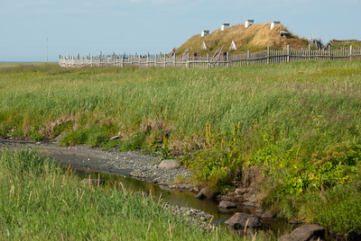 View of the reconstructed Norse house in L'Anse Aux Meadows