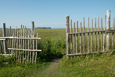 Wooden gate to recreated Norse house in L'Anse Aux Meadows