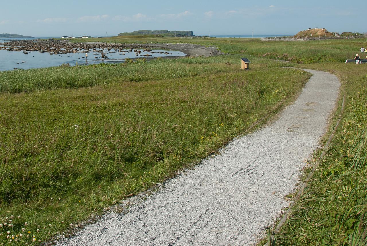Trail near the coastline in L'Anse Aux Meadows, Newfoundland, Canada